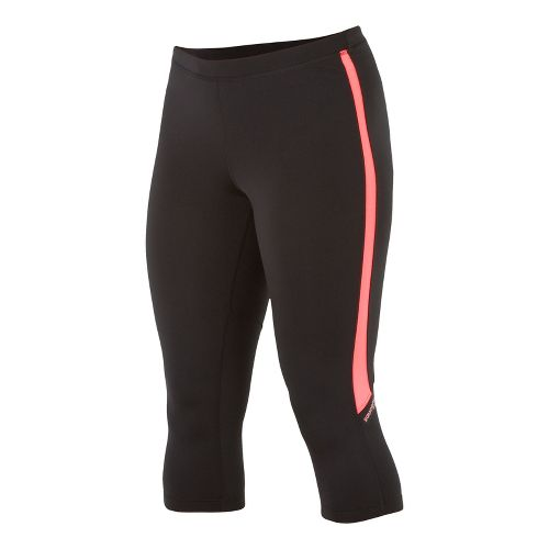 Womens Saucony Ignite Tight Capri Tights - Black/Vizipro Coral XS