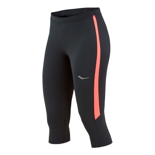 Womens Saucony Ignite Tight Capri Tights - Black/Vizipro Electric M