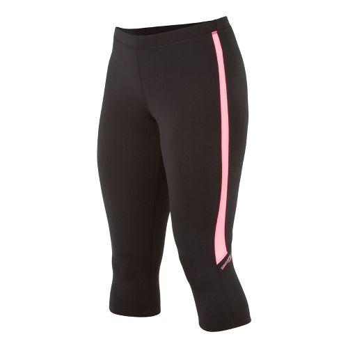 Womens Saucony Ignite Tight Capri Tights - Black/Vizipro Pink XL