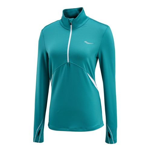 Womens Saucony Run Strong Sportop Long Sleeve 1/2 Zip Technical Tops - Jade/White L