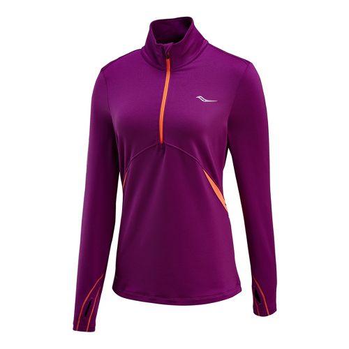 Womens Saucony Run Strong Sportop Long Sleeve 1/2 Zip Technical Tops - Plum/Vizipro Electric M ...