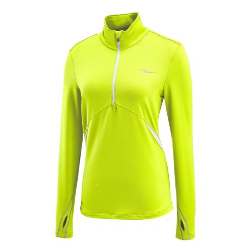 Womens Saucony Run Strong Sportop Long Sleeve 1/2 Zip Technical Tops - Vizipro Citron/White M ...