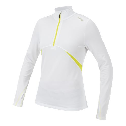 Womens Saucony Run Strong Sportop Long Sleeve 1/2 Zip Technical Tops - White/Sipher XL