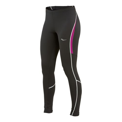Womens Saucony Omni LX Fitted Tights - Black/Plum XS
