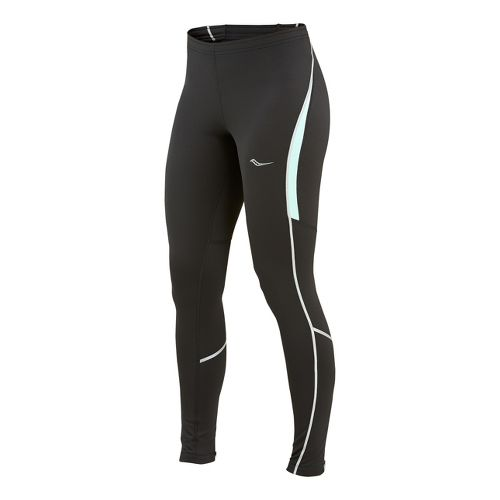 Womens Saucony Omni LX Fitted Tights - Black/Sea Green XS