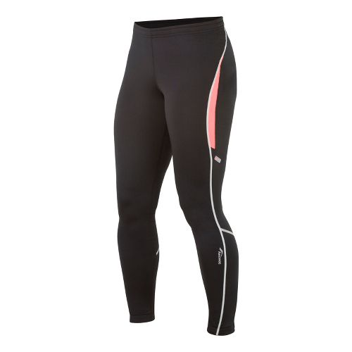 Womens Saucony Omni LX Fitted Tights - Black/Vizipro Coral M