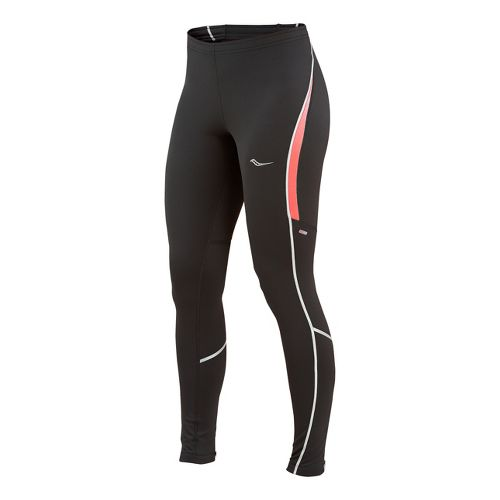 Womens Saucony Omni LX Fitted Tights - Black/Vizipro Electric L