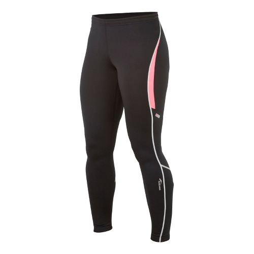 Womens Saucony Omni LX Fitted Tights - Black/Vizipro Pink M