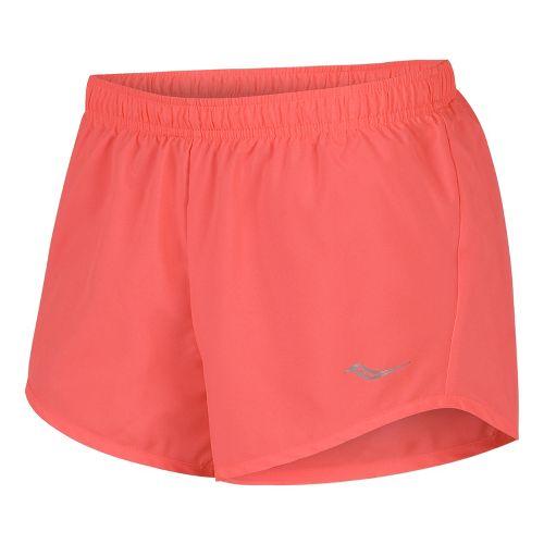 Womens Saucony PE Core Unlined Shorts - Vizipro Coral XL