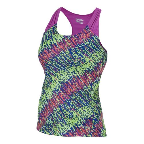 Womens Saucony Velo Print Tanks Technical Tops - Passion Purple/Acid Green S
