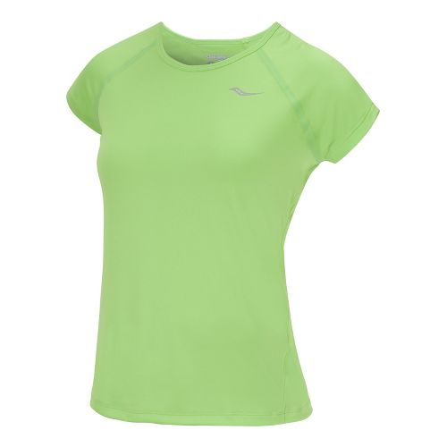 Womens Saucony Velo Short Sleeve Technical Tops - Acid Green S
