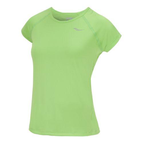 Womens Saucony Velo Short Sleeve Technical Tops - Acid Green XS