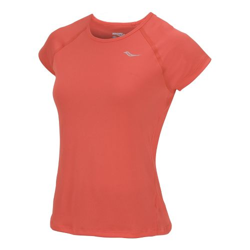 Womens Saucony Velo Short Sleeve Technical Tops - Firecracker XS