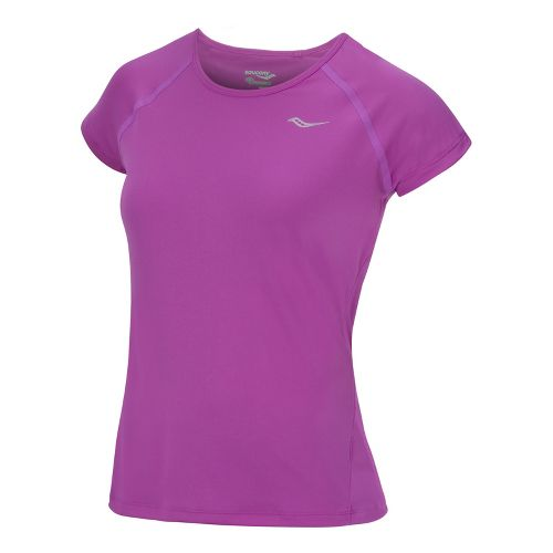 Womens Saucony Velo Short Sleeve Technical Tops - Passion Purple L
