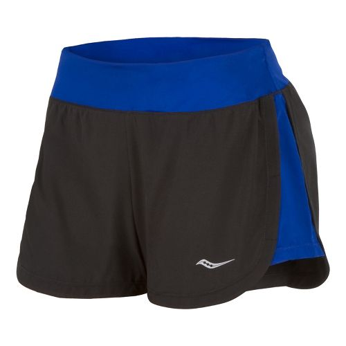Womens Saucony Impulse Shorts - Black/Cobalt L