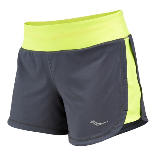 Womens Saucony Impulse Lined Shorts - Carbon/Vizipro Citron XS