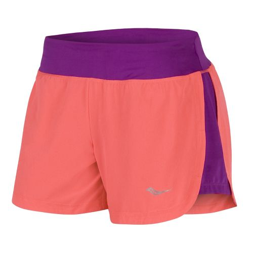 Womens Saucony Impulse Lined Shorts - Passion Purple/Vizicoral XL