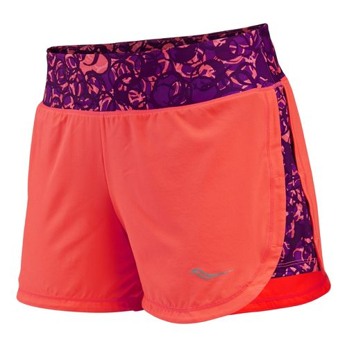 Womens Saucony Impulse Lined Shorts - Vizipro Electric L