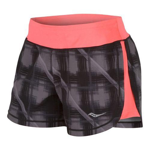 Womens Saucony Impulse Print Lined Shorts - Black/Vizipro Coral L