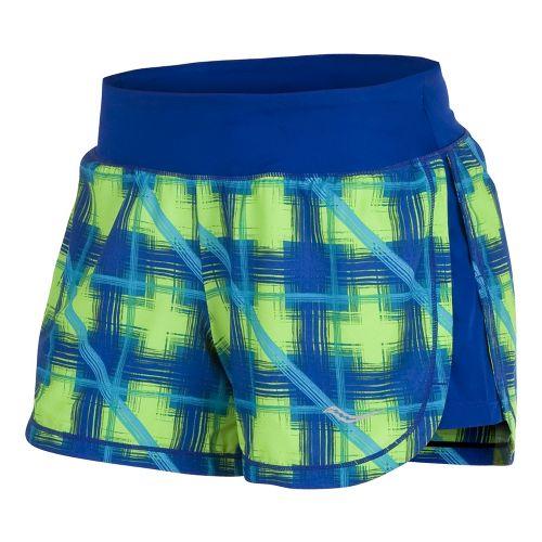 Womens Saucony Impulse Print Lined Shorts - Cobalt/Green XS