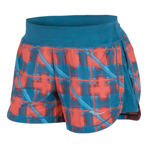 Womens Saucony Impulse Print Lined Shorts - Firecracker/River L