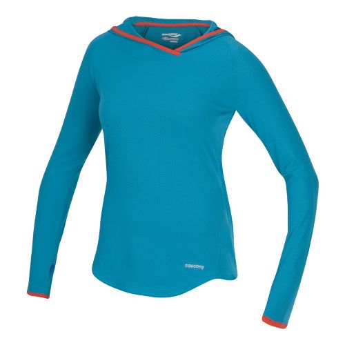 Womens Saucony Transition Hoody Warm-Up Hooded Jackets - Oceania/Firecracker M
