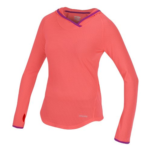 Womens Saucony Transition Hoody Warm-Up Hooded Jackets - Vizipro Coral/Passion Purple S
