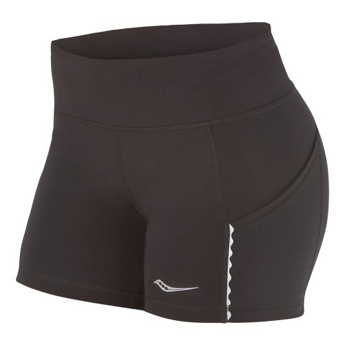 Womens Saucony Bullet Tight Fitted Shorts - Black L