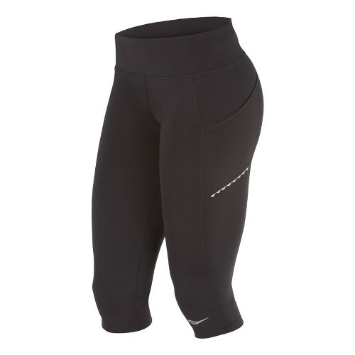 Womens Saucony Bullet Capri Tights - Black XS