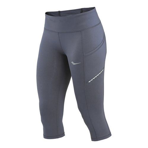 Womens Saucony Bullet Capri Tights - Carbon M
