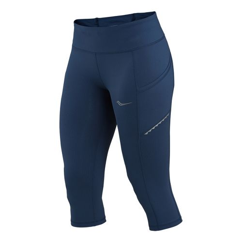 Womens Saucony Bullet Capri Tights - Tek Navy S