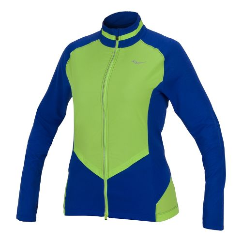 Womens Saucony Transcendence Full Zip Running Jackets - Cobalt/Acid Green XL
