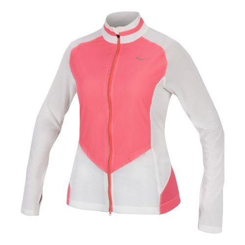 Womens Saucony Transcendence Full Zip Running Jackets - White/Vizipro Coral M
