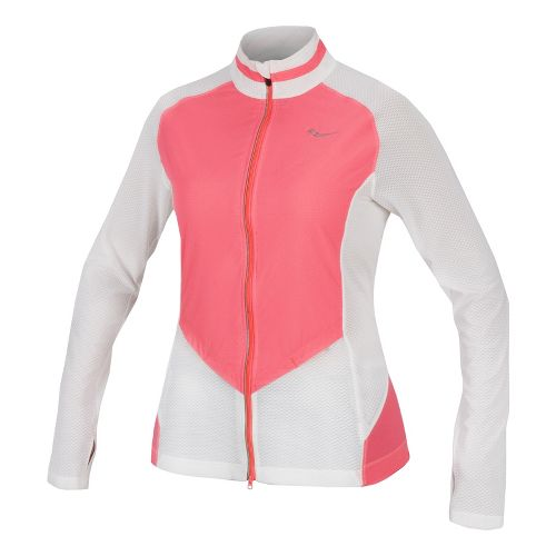 Womens Saucony Transcendence Full Zip Running Jackets - White/Vizipro Coral XL