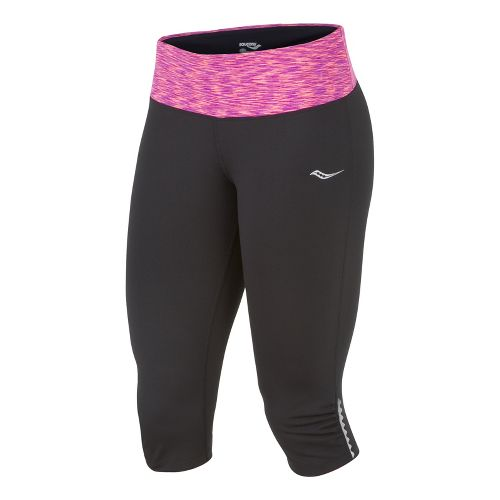Womens Saucony Ruched LX Capri Tights - Black/Passion Purple L