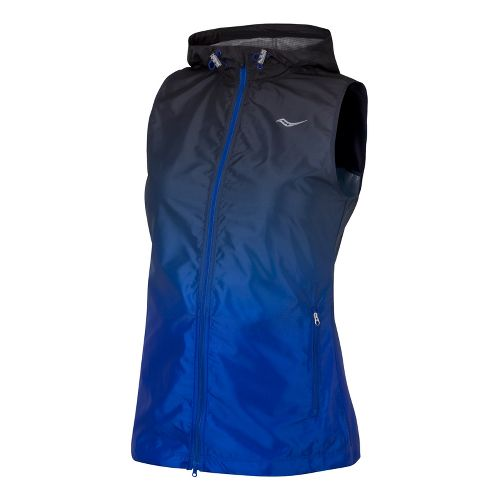 Womens Saucony Packable Fade Running Vests - Black/Cobalt M