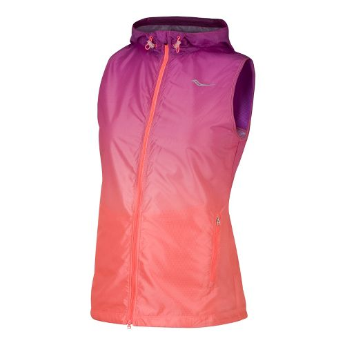 Womens Saucony Packable Fade Running Vests - Passion Purple/Vizipro Coral M