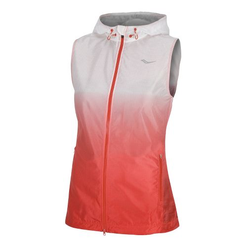 Womens Saucony Packable Fade Running Vests - White/Firecracker L