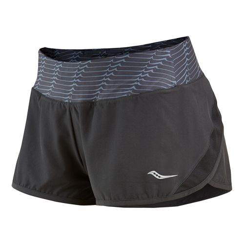 Womens Saucony Pinnacle Lined Shorts - Black/Carbon M