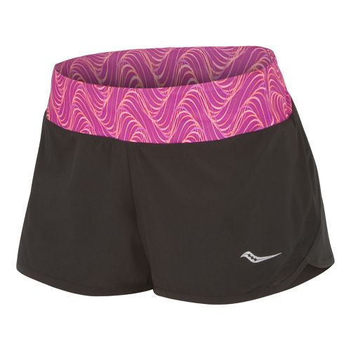 Womens Saucony Pinnacle Lined Shorts - Black/Passion Purple L