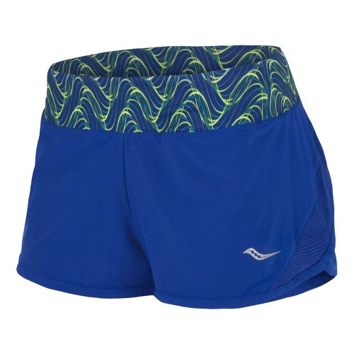 Womens Saucony Pinnacle Lined Shorts - Cobalt/Acid Green M