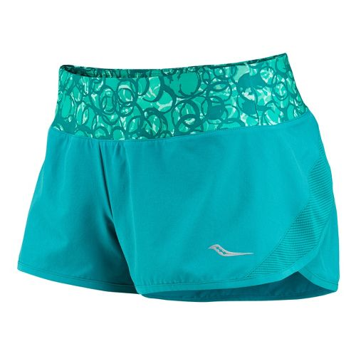 Womens Saucony Pinnacle Lined Shorts - Jade/Sea Green S