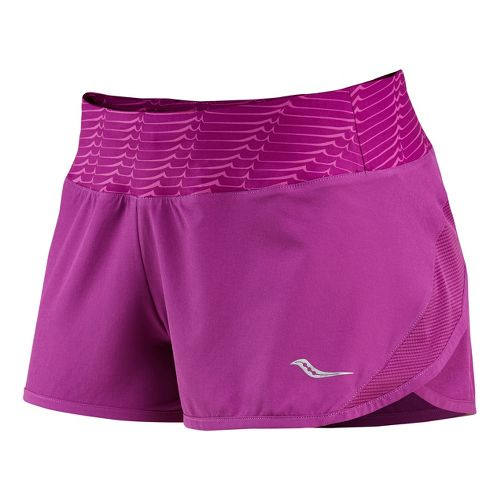 Womens Saucony Pinnacle Lined Shorts - Plum/Plum XS