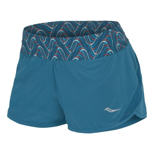 Womens Saucony Pinnacle Lined Shorts - River/Firecracker XL