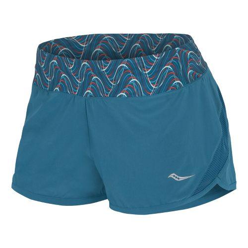 Womens Saucony Pinnacle Lined Shorts - River/Firecracker XS
