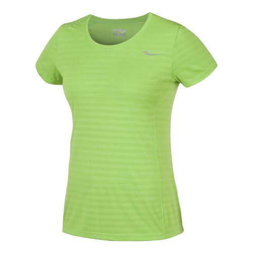 Womens Saucony PE Short Sleeve Technical Tops - Acid Green XS