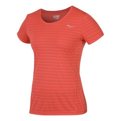 Womens Saucony PE Short Sleeve Technical Tops - Firecracker S