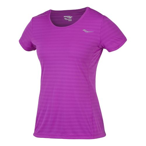 Womens Saucony PE Short Sleeve Technical Tops - Passion Purple L