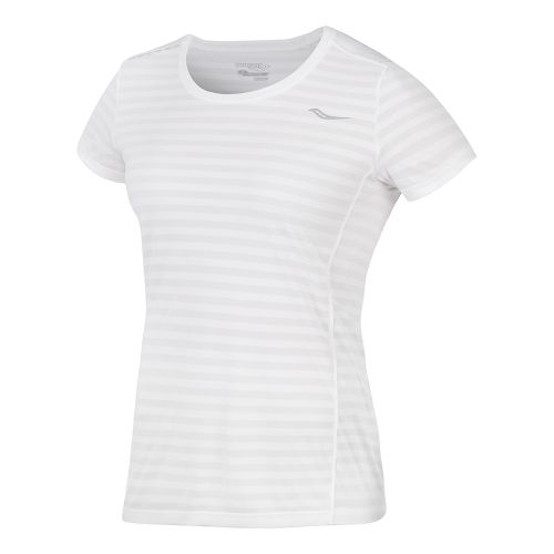 Womens Saucony PE Short Sleeve Technical Tops - White XL