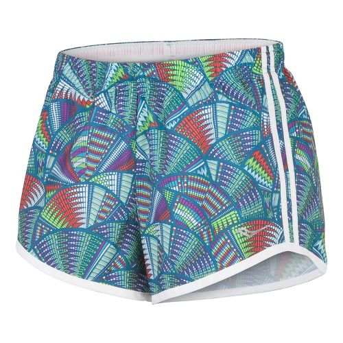 Womens Saucony Printed PE Lined Shorts - Carbon/Passion Purple XS
